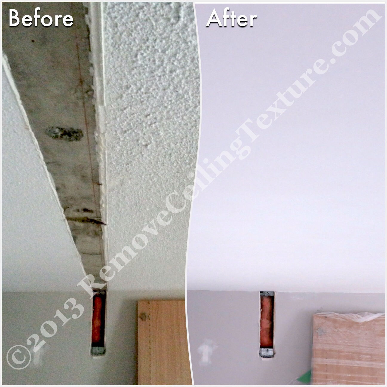 After removing walls, ceiling repairs will need to be done, as you can see at this condo at 1331 Homer Street