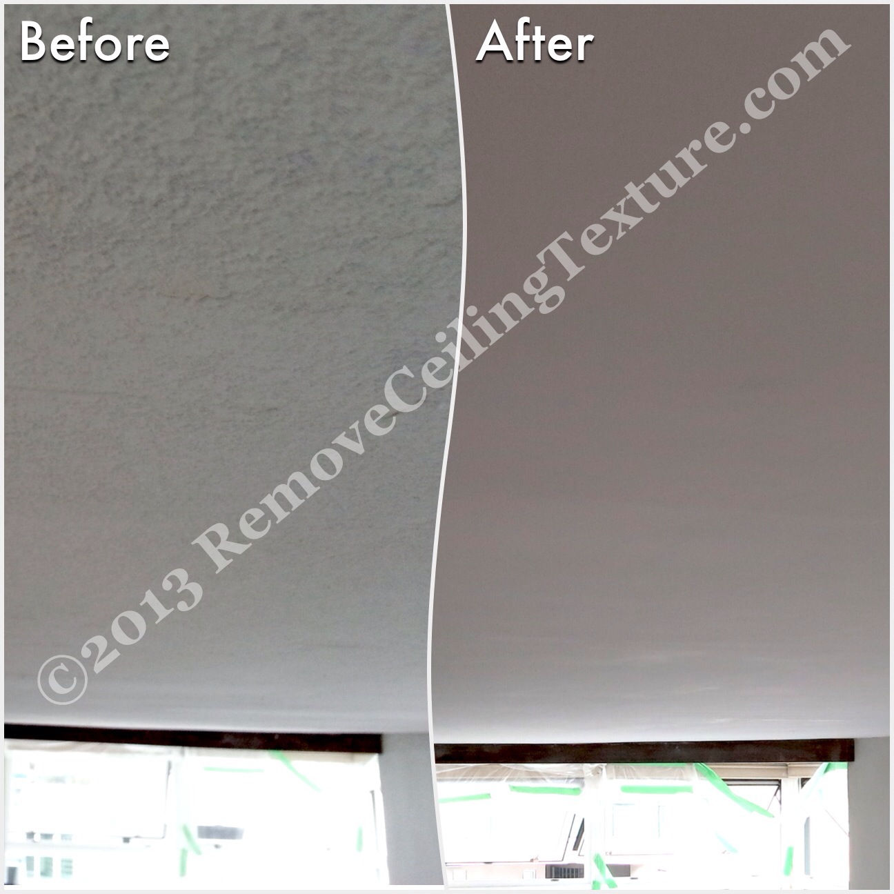 The before photo is after the homeowner tried scraping texture from ceilings. In the end he ended up calling RemoveCeilingTexture.com to fix the mess.