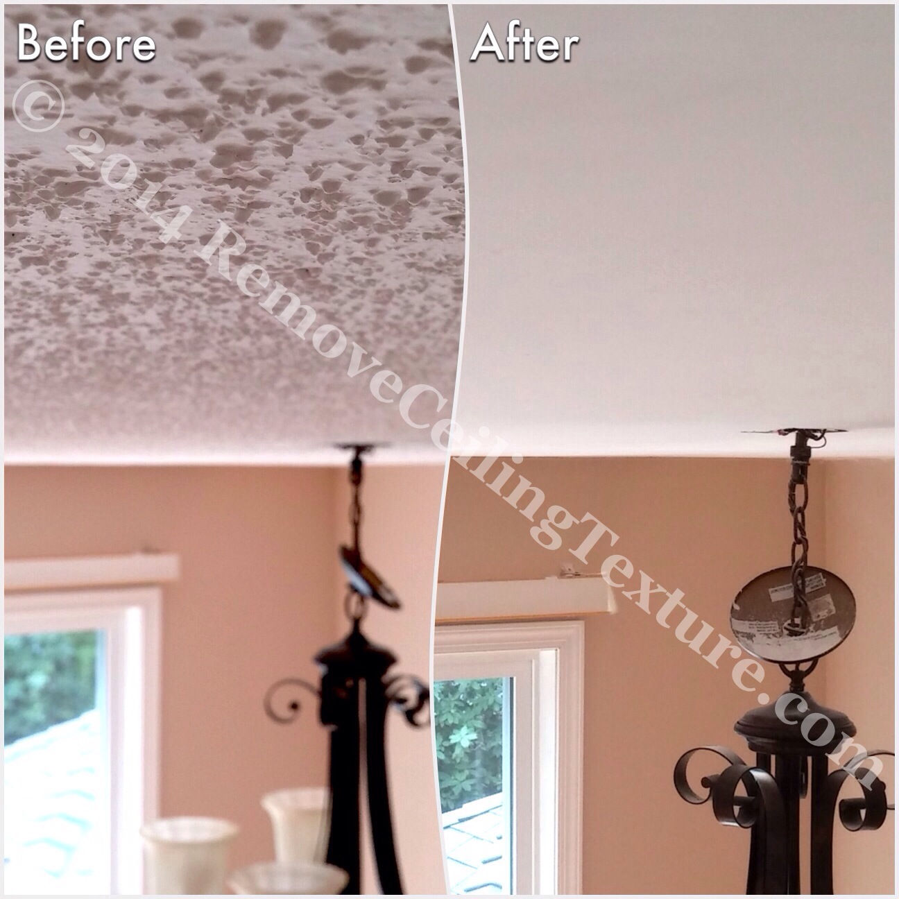 Covering Popcorn Ceilings: Before and after photo of a dining room in Delta