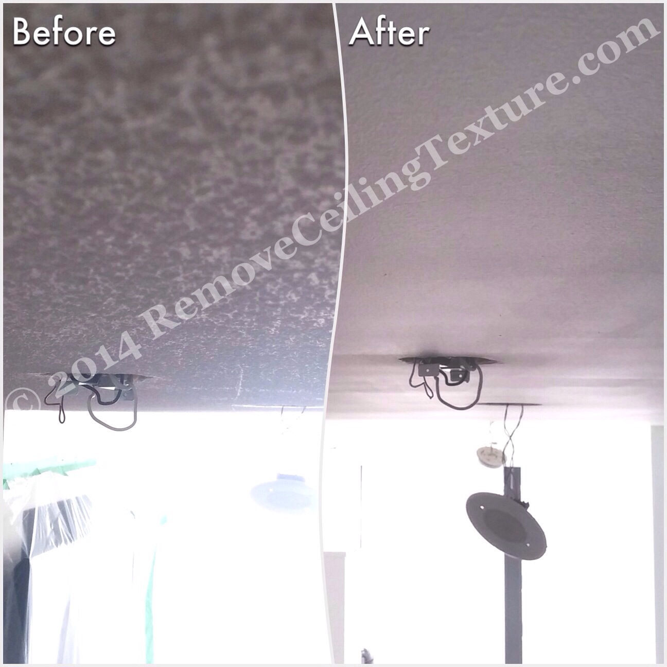 Removing ceiling texture in the living room of a condo at 1723 Alberni St.